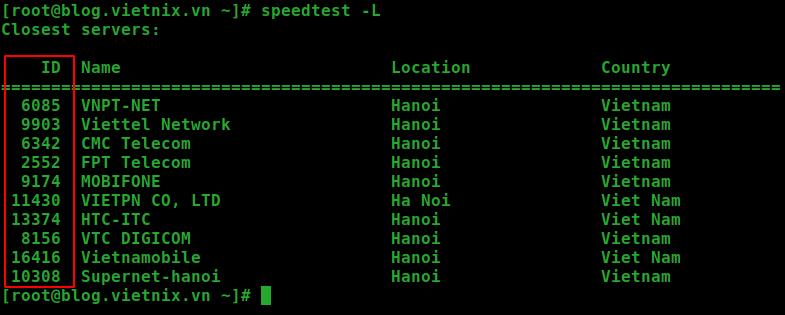 speedtest linux