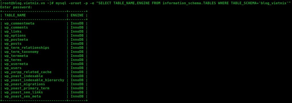 kiểm tra table sử dụng myisam hay innodb