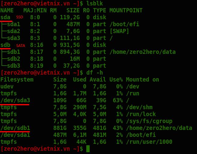 Liệt kê ổ cứng Linux